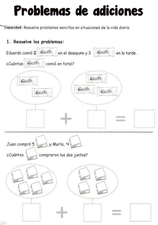 Problemas de adiciones: 5 años - Material de AprendizajeMaterial de Aprendizaje