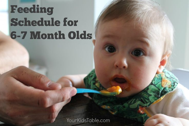 Complete sample feeding schedule for 6 month olds with helpful tips to use and adjust for your baby through their 7th month. Plus, bonus feeding tips!
