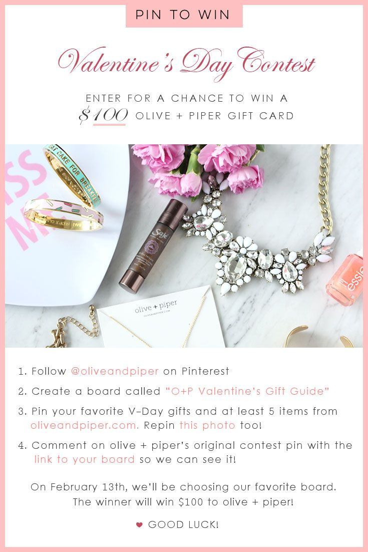 GIVEAWAY! Want a change to WIN a $100 gift card to olive + piper?! We want you to create the ultimate #Vday #GiftGuide and at the end of the contest we will choose one winner.  Follow the rules above to enter! Contest ends 02.13.16* #ValentinesContest
