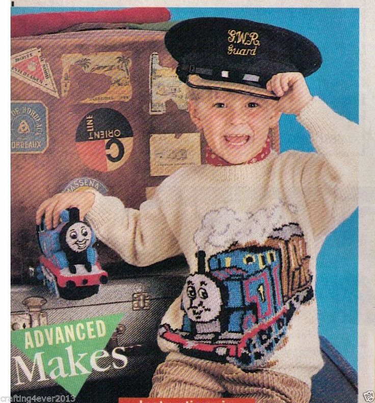 KNITTING PATTERN CHILDS THOMAS THE TANK ENGINE & CARRIAGE JUMPER 56-76 CM 8PLY