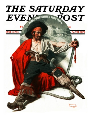 """""""Thoughts of Home"""" Saturday Evening Post Cover, June 14,1924 Giclee Print by Norman Rockwell at Art.com"""