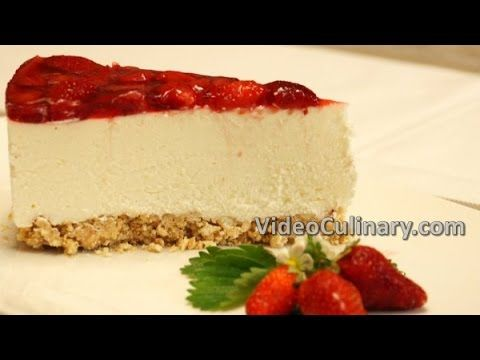 No Bake Strawberry CheeseCake Recipe - Easy Ricotta Cake - YouTube