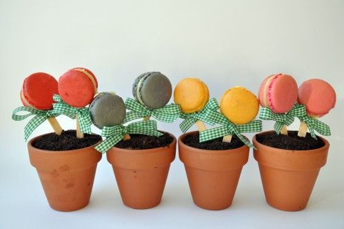 I don't like macaroons but this idea is so cute for a garden themed party dessert. Clay pot, crushed Oreo dirt, maybe a gummy worm or two and some frosted sugar cookie flowers.