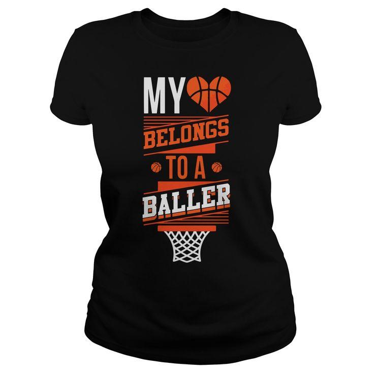 MY HEART BELONGS TO A BALLER  BASKETBALL T SHIRT DESIGN ONLINE