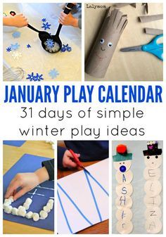 Free play calendar with 31 Days of January activities for kids! Includes winter themed crafts, indoor boredom busters and outdoor play ideas!