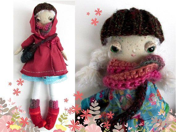 Pippa, a one of a kind handmade  cloth doll