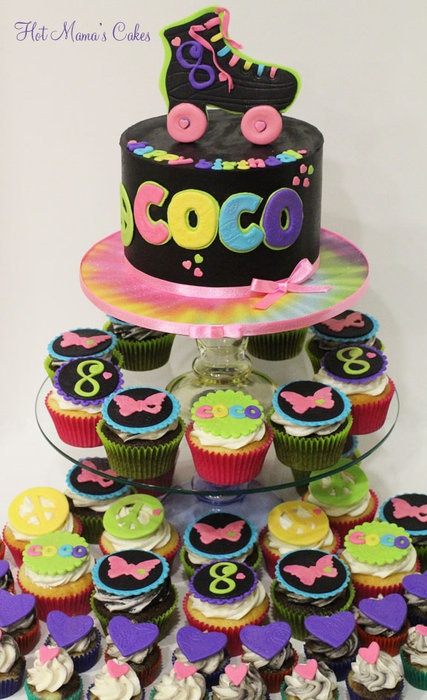 Groovy Roller Skate cake and groovy cupcakes