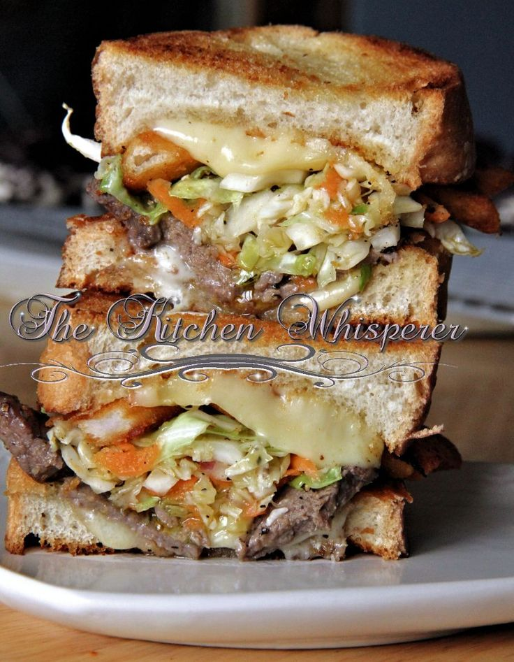 Pittsburgh Style Grilled Cheese 'n Steak with Slaw-Naughty Naughty :)