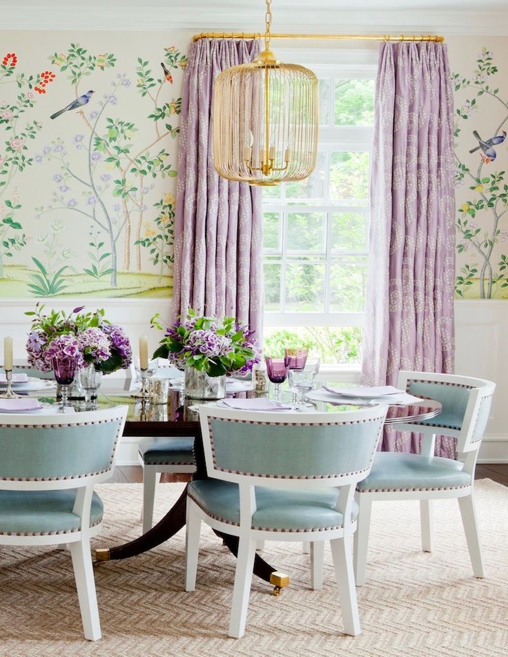 Ashley Whittaker Interior Design, Chinoiserie Wallpaper, Lavender, Turquoise, Dining Room