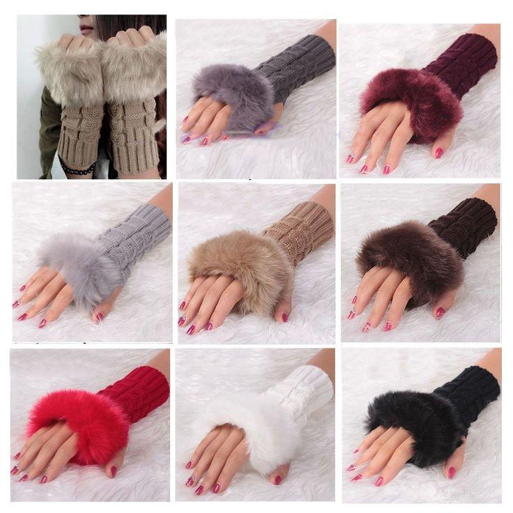 Fingerless Gloves Braided Cable Knit Women Girls Hand Warmer Faux Fur Trim