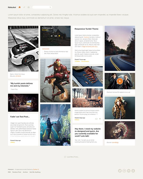 Hatsukoi - Responsive Tumblr Theme on Web Design Served