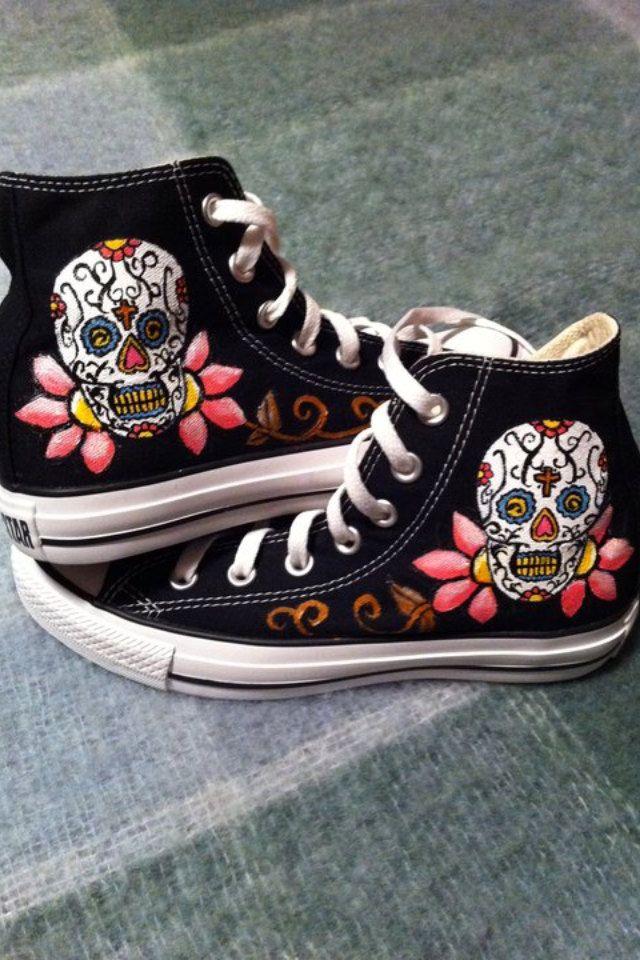 Sugar Skull Converse by DeannaNicoles on Etsy, via Etsy.