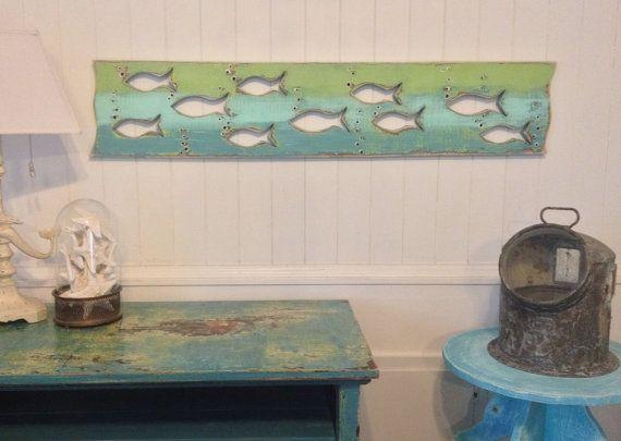 Grey Wood Art Fish School Sign Wall Decor Beach Lake House Cabin Cottage by CastawaysHall