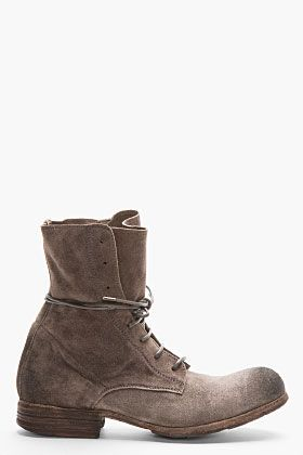 OFFICINE CREATIVE Taupe Distressed Suede Shine Boots