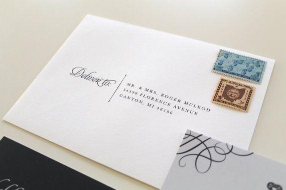 Custom Wedding Envelope Printing Script Font by TiedandTwo
