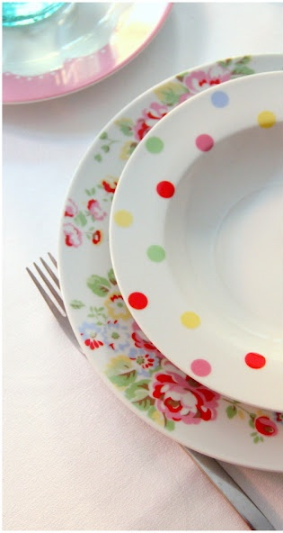 cute polka dots with the flowered plate underneath -