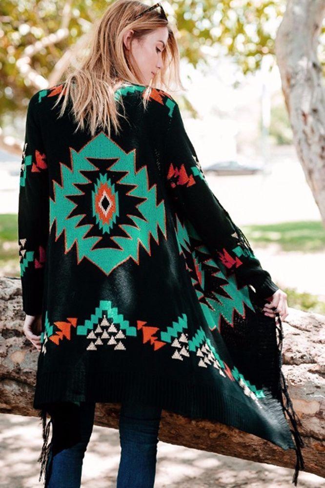SANTA FE AZTEC CARDIGAN Fringe Boho Jacket Cowgirl Gypsy Western Southwest S/M…