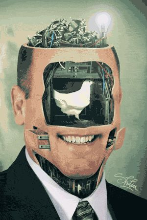 """GIF ∞∞∞∞∞∞∞∞∞∞∞∞∞∞∞∞∞∞∞∞∞∞∞∞∞∞∞∞  Milos """"Sholim"""" Rajkovic's animated collages are unnerving to look at, but also strangely mesmerizing. He creates surreal portraits that transform mundane photographs into bizarre mechanisms from a Terry Gilliam-esque nightmare."""