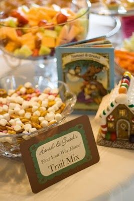 """Hansel and Gretel's """"Find Your Way Home"""" trail mix. For a fairy tale shower."""
