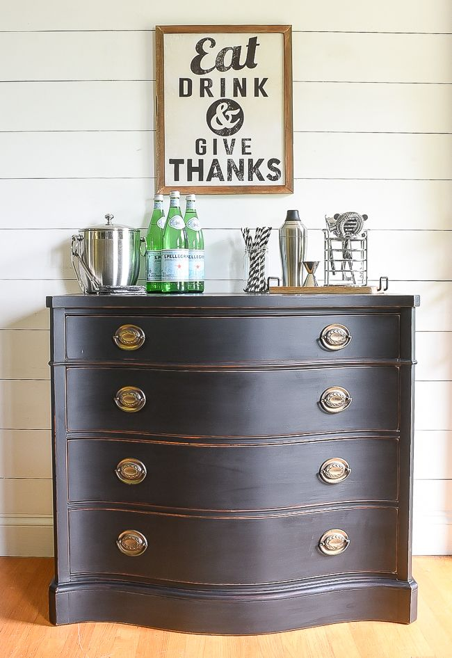 Simple And Classic Distressed Black Vintage Buffet Makeover