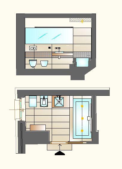 Ristrutturazione appartamento in dimora storica - Prospetti laterali e pianta bagno ragazzi - Maria Teresa Azzola Designer - Nembro (BG) 2012-2013