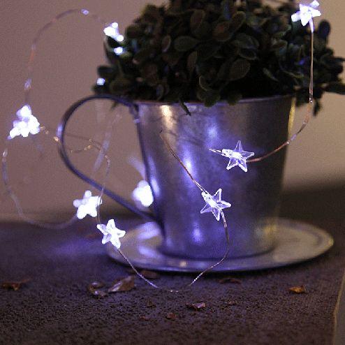 Stjerne Hjerte Batteridrevet LED Lysslynge 12 Lys