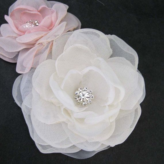 Bridal hair flower set Ivory Blush Organza Rose hair set