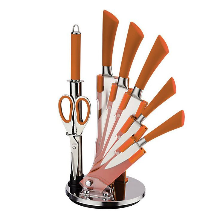 For Precision Orange Stainless Steel Knife Set From Our Kitchen Accessories A With Style Sophistication Durability