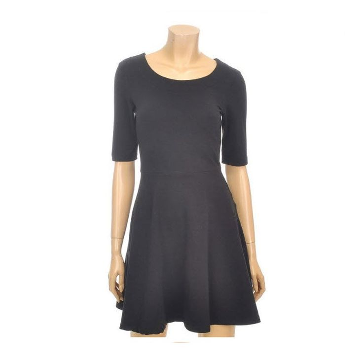 Topten10 Women's Lovely Solid Simple Short Sleeve Flair Dress Black Color #Topten10 #Tunic #Casual