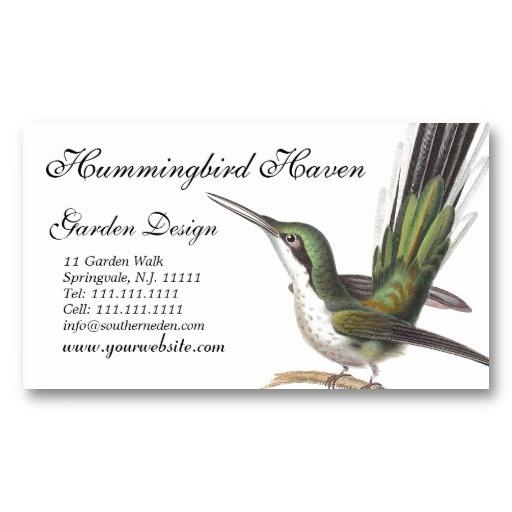 hummingbird cards garden designer gift shop etc business card