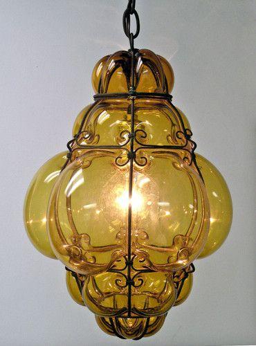 Vtg Murano Caged Glass Amber Ceiling Pendant Hanging Light Lamp Midcentury Italy | eBay