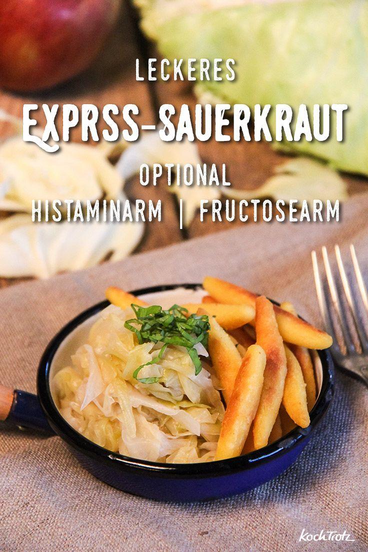 Express-Sauerkraut selbst herstellen. Das geht super einfach und vor allem schnell! Uns schmeckt es besser als das gekaufte Sauerkraut. Das Rezept ist für Allergiker geeignet (histaminarm | fructosearm | sorbitfrei | uvm.)