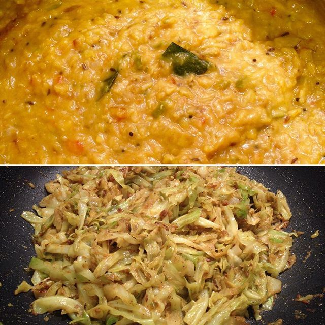Tonight's #meatlessmonday dinner was a trio of Indian & Malaysian style dishes with a side of basmati rice. Dhal curry, turmeric cabbage and... #homecooking #meatlessmonday