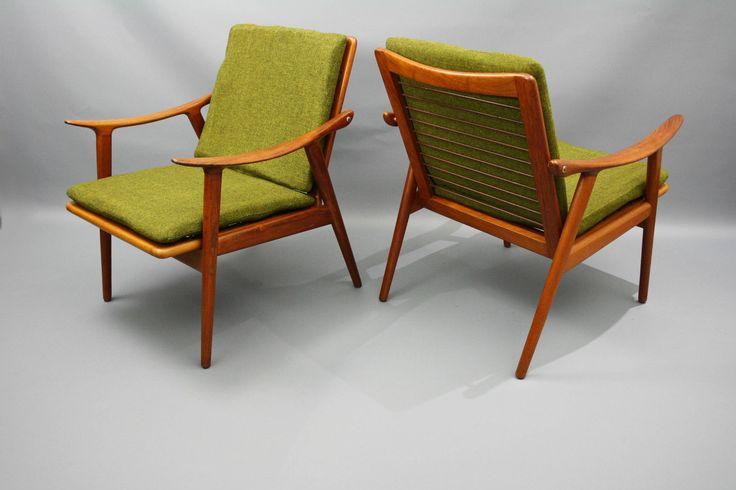 Mid Century Original RARE Pair of Teak Danish Easy Arm chairs by Fredrik Kayser for Vatne Lenestolfabrikk - Norway. 360 Modern Furniture