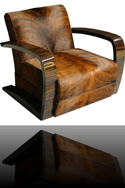 Art Decó Style Cowhide Upholstered Club Chair... Love it ❤️