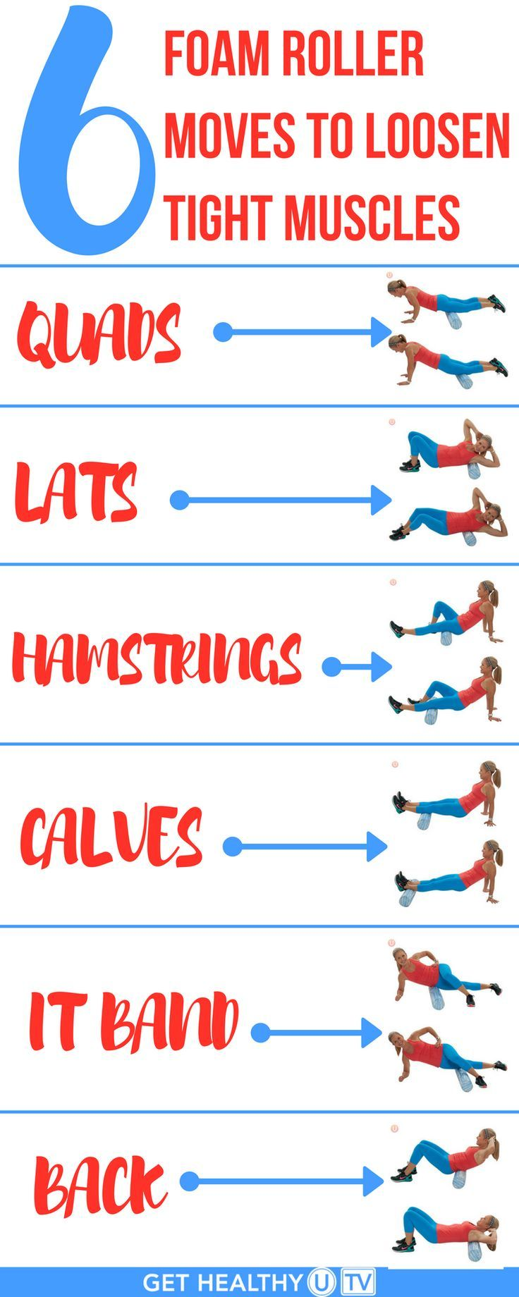 Check out these 6 Foam Roller Moves to Loosen Tight Muscles! Are you achey after a workout? Or want to prevent being super-sore tomorrow? A foam roller is EXACTLY what you need! Try these today!