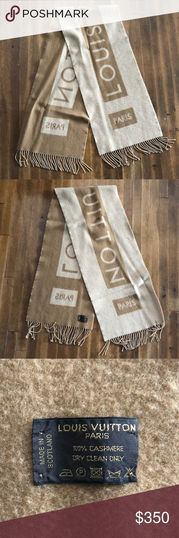 LOUIS VUITTON CASHMERE LOGO SCARF Camel Cashmere Echarpe Baroda Logo Scarf/Wrap. 100% cashmere. Super plush. Some moth damage from storage as pictured, but hardly noticeable when wearing. Louis Vuitton Accessories Scarves & Wraps