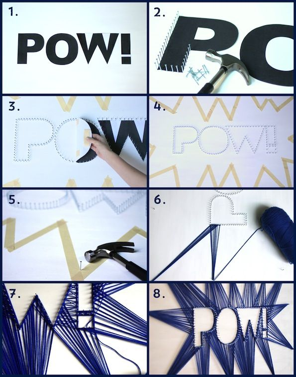 "DIY String Art Backdrop! Going to try this is my son's bedroom but spell ""RAWR"" instead :3"