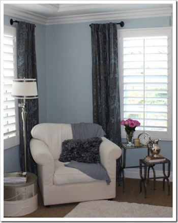Using towel bars as short curtain rods. Might work for my wall of windows.