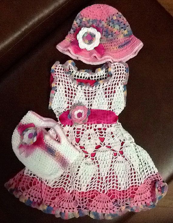 Crochet summer dress outfit pattern for 12-18 months baby girl