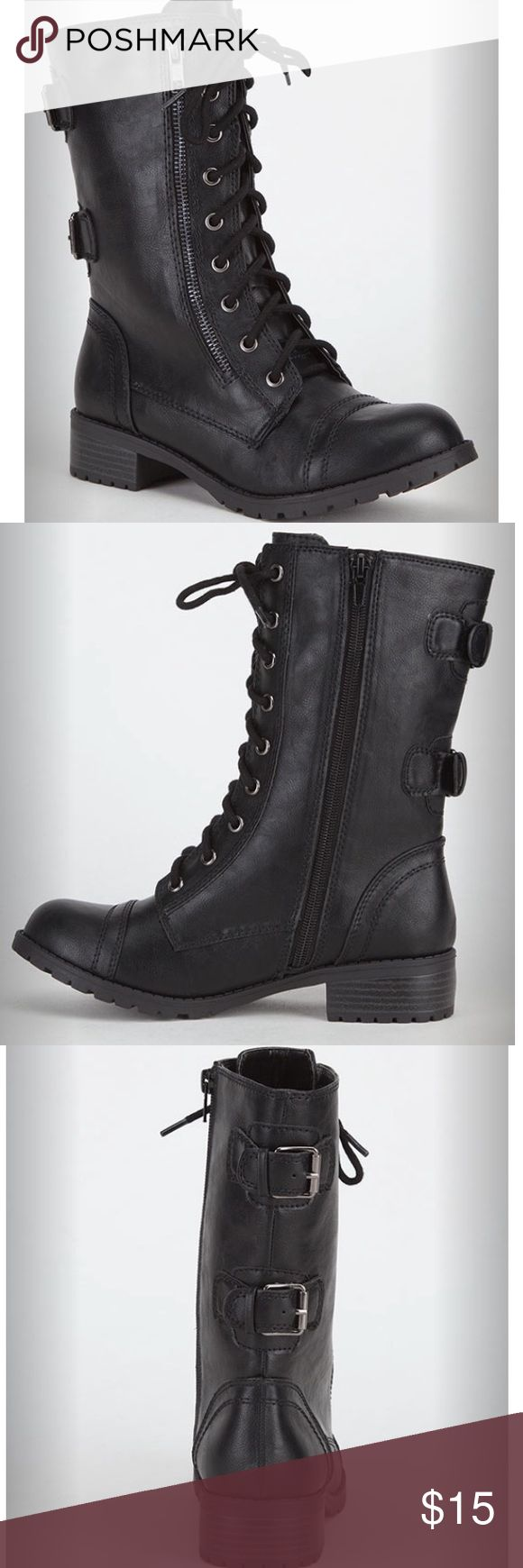 Women's Black Combat Boots Faux leather upper with crinkled effect. Full lace up front. Working side zip with decorative zip on the other side. Buckle details at back.  Originally $49.99 These have been USED, which is why the price is so discounted. Tilly's Shoes Combat & Moto Boots