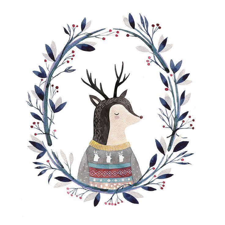 watercolor deer illustration by Lena Erysheva
