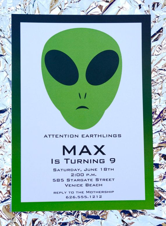 Alien Birthday Party Invitation and Cupcake Toppers by EmmysEvents, $22.00