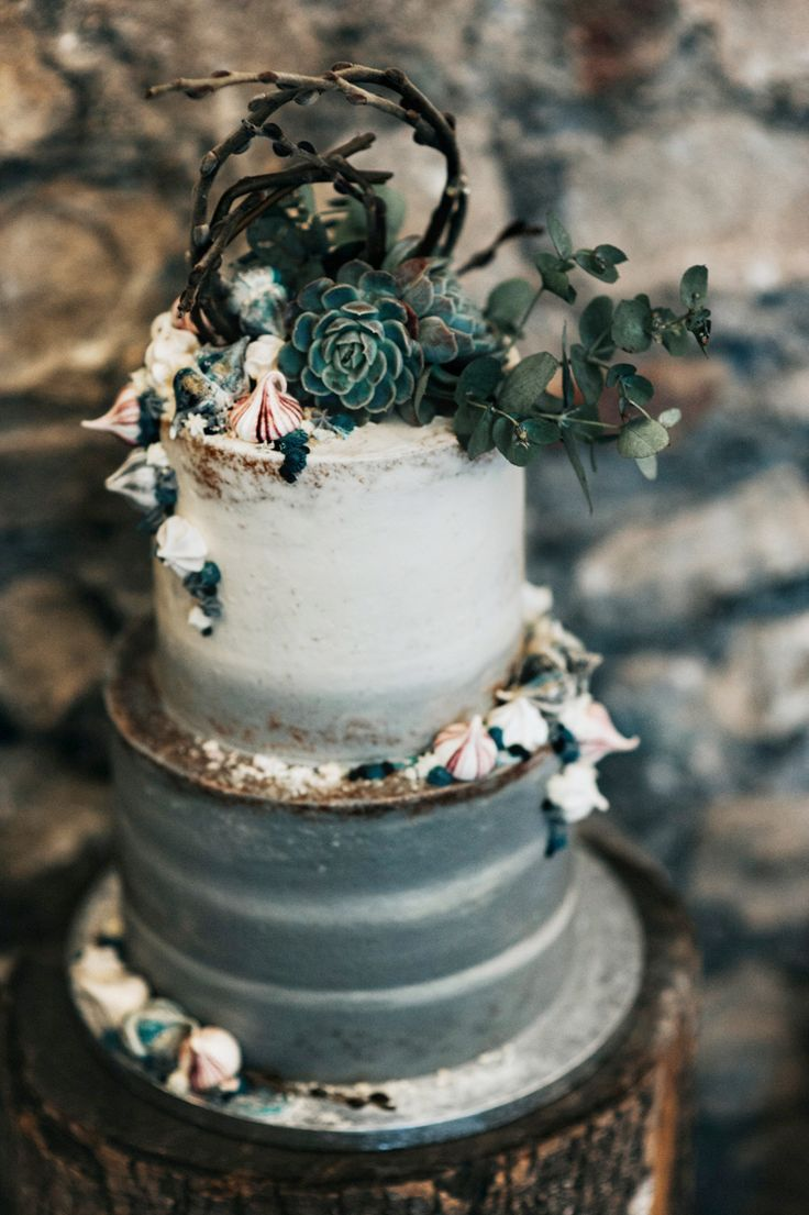 Grey White Cake Succulents Bohemian Mermaid Wedding Ideas https://www.elizaclaire.com/