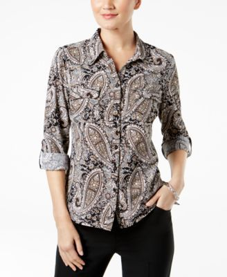 Ny Collection Petite Printed Utility Shirt - Tan/Beige P/XL