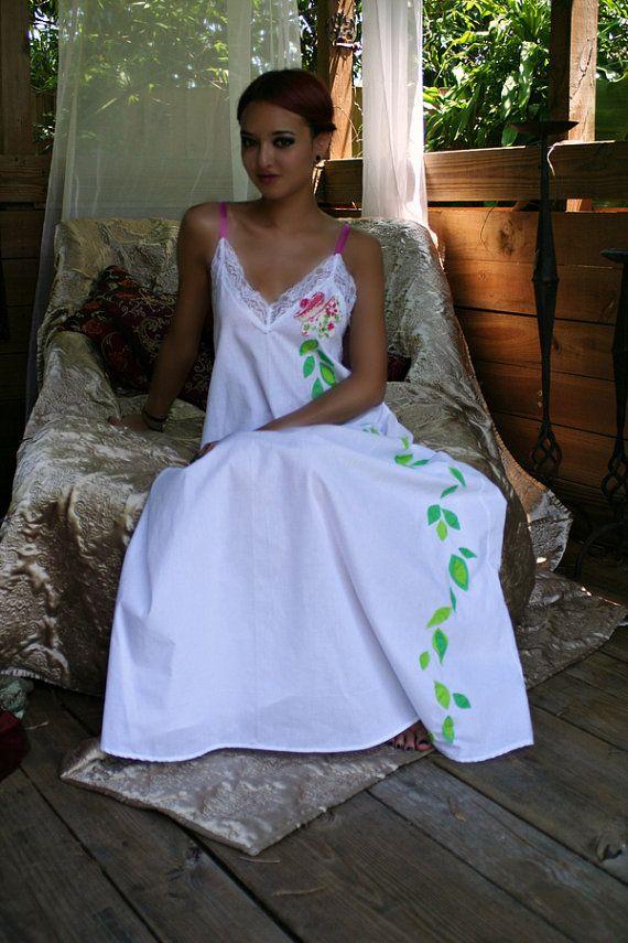 Prinses bruid Lingerie handgekapte bloem katoenen Nachthemd