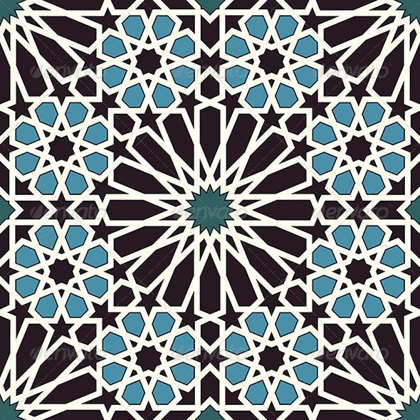 Arabesque Seamless Pattern in Blue and Black - Patterns Decorative