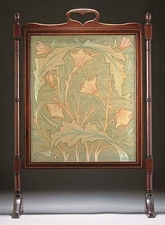 Firescreen:  mahogany, silk  32 5/8in. (82.8cm.) high, designed by May Morris.