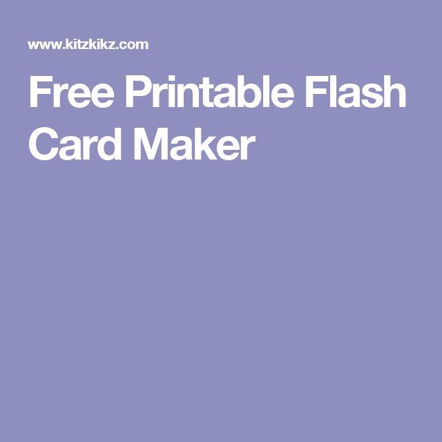 Free Printable Flash Card Maker