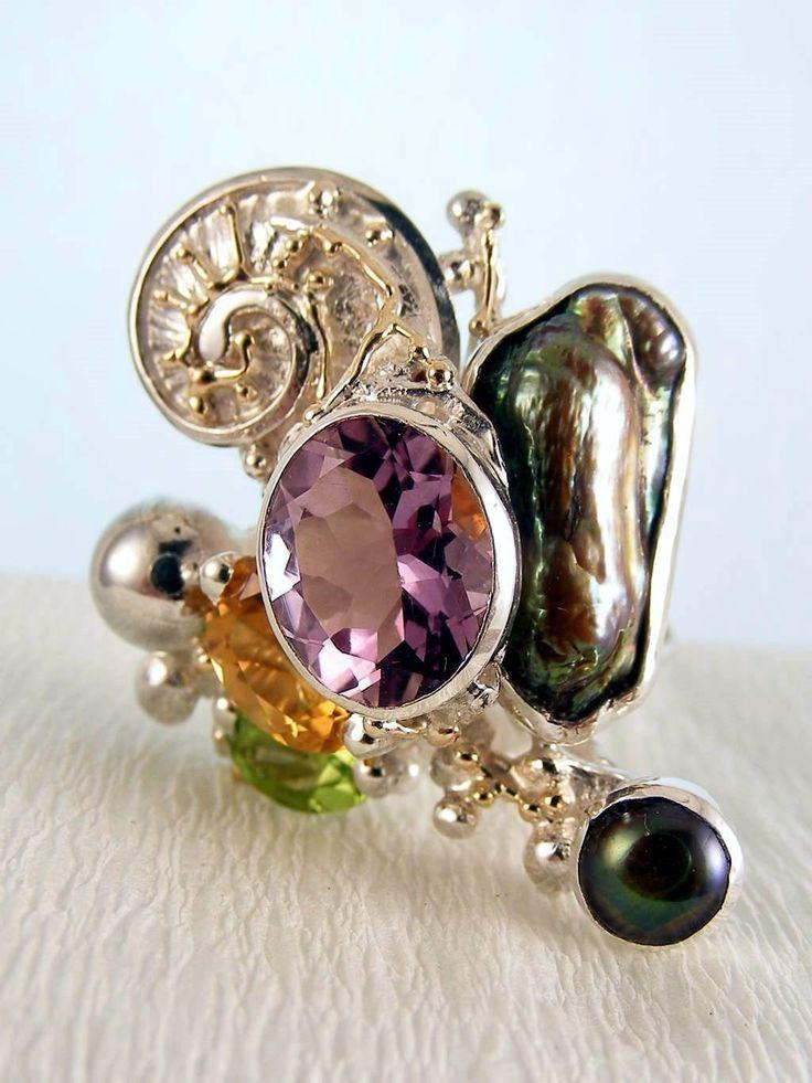 Gregory Pyra Piro #Konst #Smycken Sterlingsilver och Guld med Ädelstenar #Ring 1565